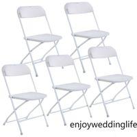 Neue Set von 5 Kunststoff-Klappstühle Hochzeits-Party-Event-Stuhl kommerzielle weiße Stühle für den Hausgarten-Gebrauch