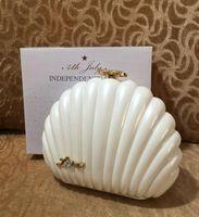 Mode Paris Designer Handtaschen Schwarze und weiße Muschelkupplung Brieftasche Perle Kette Abendessen Taschen Frauen VIP Geschenk Tasche Independence Day Geschenkbox