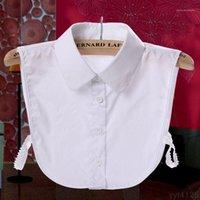 목 넥타이 2021 여성 순수한 컬러 레이스 분리형 옷깃 초커 목걸이 셔츠 가짜 거짓 칼라 블라우스 탑 옷 액세서리 1