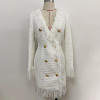 112 XL 2020 Kostenloser Versand Herbst Schwarz Weiß Langarm V-Ausschnitt Kleid Mode Top Kleid Womens Kleidung Oulai