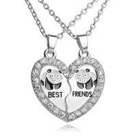 Bonito Panda Amizade Difusor Difusor Colar Colares Heartbeat Coração Medalhão Cristal Menina Colar Difusor Jóias Para Mulher