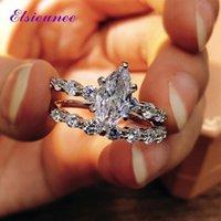 Elsieunee 100% 925 Sterling Argent Sterling Marquise simulé Moissanite Diamond Bague de fiançailles de mariage Mariage Mariage Ensembles de mariée en gros