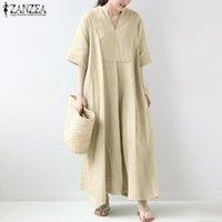 2021 Yaz Katı Sundress Zarif V Boyun Elbise Zanzea Kadınlar Kısa Kollu Pamuk Keten Uzun Maxi Vestidos Kadın Robe Artı Boyutu