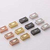 Новый DIY ювелирные изделия изготовления 14 * 10 * 4 мм Золотой / серебристый / из черных покрытых медью Crown Pattern Charms Micro Pave Crystal Zircon Charms