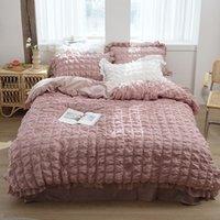 Stile coreano 100% cotone Biancheria da letto Seersucker Bedcover Bianco Pink Duvet Cover Fodera Set da letto Set da letto Set