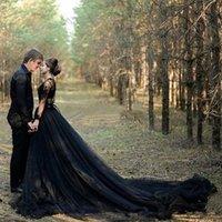 Negro país gótico vestidos de casamento uma linha v pescoço laço tule alto split vestidos de nupcial varrer mangas compridas vestidos de casamento plus tamanho