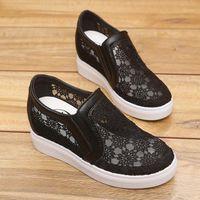 Elbise Ayakkabı ZZPOHE Kadın Sneakers Yürüyüş Kadın Kesikleri Dantel Tuval Hollow Nefes Platformu Casual1
