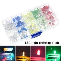 100pcs (5 couleurs x 20pcs) 5mm 3mm LED lumière émettrice de lumière ronde Couleur assortie Blanc / rouge / jaune / vert kit kit kqs81