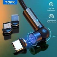 TOPK 540 Girar Cabo Magnético Micro USB Tipo C Cabo Cabo de carregamento de carregamento magnético para 11 Pro Xs Max Samsung Xiaomi FY7632