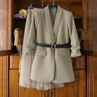 Mode Kleidung Frauen Blazer Anzug mit Spitzenkleid Elegante 2021 Frühling Weibliche Beiläufige Anzug mit Kleid 4XL Große Größe Mäntel Frauen