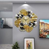 الجنكة biloba الإبداعية ساعة الحائط ضوء الأوروبي الفاخرة ساعة غرفة المعيشة الأمريكية بسيطة المنزل الفن ديكو الجدار