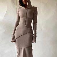MONMOIRA Solide Skinny Skinny Femmes Midi Robe Midi Automne Longue Streetwear Streetwear Stretch Hoodie Robe Femme CWD1003-5