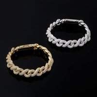 Hip Hop Prong Setting CZ Stone Bling Iced Out Solid Infinity Cuban Link Chain Bangles Bracelets for Men Rapper Jewelry