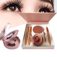 4 Pairs Flase Eyelashes 3pcs Glue-free Eyeliner Self-adhesive Eyeliner False Eyelashes Set With Tweezer