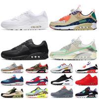 Nike Air Max 90 Nike 90 Air 90 Stock x 2021 высококачественные женские мужские кроссовки большого размера 12, тройные, белые, черные, непобедимые, кроссовки Supernova