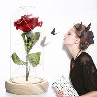 Saint Valentin Coffre-cadeau Verre Couverture de Verre Favoris Favorie Favorie LED Simulation de la lumière Immorthal Eternal Roses Packaging 7 couleurs