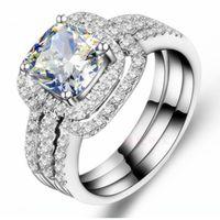 18K branco banhado a ouro 2ct almofada anel de noivado bandas de casamento nscd anéis de diamante simulados mulheres