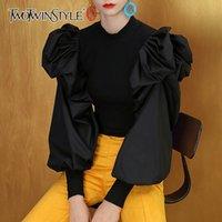 Twotwinstyle patchwork örgü fırfır beyaz kadın kazak o boyun puf kollu kadın kazak sonbahar büyük boy moda yeni 201023