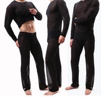 Мужская перспективная домашняя одежда костюма сетки ясных с длинным рукавом пижамы набор круглых топоров шеи брюки свободные спящие одежды большой размер черный белый синий красный
