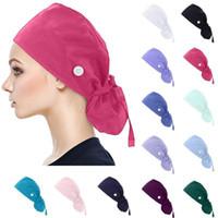 الجنسين الدعك قبعات قابل للتعديل قبعة بوفانت الصلبة مع أزرار العصابة للمرأة والرجال التمريض مرونة متعدد الألوان hats1