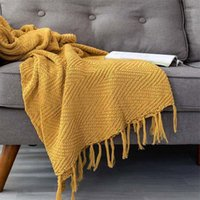 130x170cm Summer Knitted Yarn Blanket Recliner Armchair Cove...