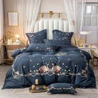 Luxo 600TC egípcio algodão cisne flores bordados princesa têxteis conjunto de cama de cama home capa fronhas plana / montado folha de edredão