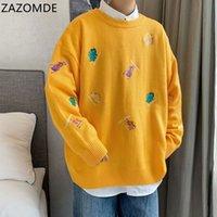 Zazomde hombres suéteres coreanos de manga larga jerseys fashions masculino suéter de punto de gran tamaño otoño tops de gran tamaño hombres 201124