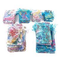 10 unids / lote bolsas de organza coloridas joyas de embalaje de la joyería bolsas de diseñador favorito bolsas de regalo bolsas de regalo bolsas de cordón decoraciones de navidad W-00522