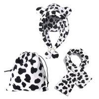 Женщины зимний нечеткий пушистый теплый теплый капюшон Chareflap Cap Cap Cover Cross Coarf Drawstring Storage Bag Cute Cov Print Ear
