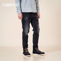Simwood Sonbahar Kış Yeni Slim Fit Konik Kot Siyah Denim Pantolon Klasik Jean Yüksek Kalite Marka Giyim SJ130915 201120