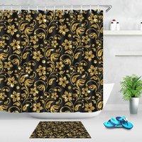 Cortinas de ducha moda Otoño brillante Flores de hojas de hojas de cortina negra Celebración Celebración Baño de vendimia Tela impermeable Decoración de baño