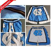 2020 Just NCAA Carolina del Norte Tal tacones cortos Nuevos Pantalones de seguridad transpirables Equipos Classic Sportswear College Baloncesto Shorts Zipper Bolsets