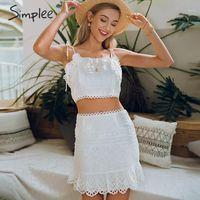 Simplee Sexy V-образным вырезом спагетти ремешок женское платье элегантная точка печати A-Line два штуки короткий сарафль леди леди MIDI Dress1
