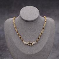 Joyería de diseño de lujo Collares de mujer Collar de diamantes con sellos de letra D Material de latón Hip Hop Fashion Jewelry