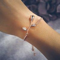 تصميم روز زهرة سحر سوار 3d رومانسية روز زهرة سوار سلسلة قابل للتعديل للنساء الفتيات هدية مجوهرات عيد الحب