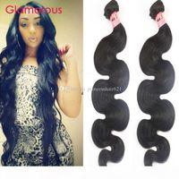 Glamouröse indische Körperwelle Menschliches Haar Gewebe 2 Bündel Mode Wellenförmige Haarstil Peruanisches malaysisches brasilianisches jungfräuliches Haar Schuss für schwarze Frauen
