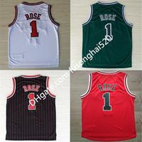 Bon marché vente chaude # 1 jersey de rose de derrick, nouveau matériau broderie cousue derrick ballon de basketball maillots de basketball noir rouge blanc vert expédition rapide
