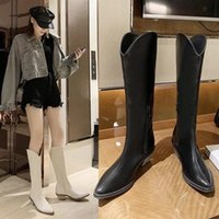 DM514 Knee High Female Autumn winter Cowboy Boots for Women Long Winter Boots Pointed Toe Cowgirl Thick Heel Motorcycle #C29w
