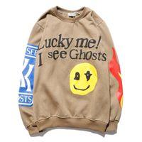 """Erkek Hoodies Logo """"Şanslı Beni Görüyorum Ghosts Görüyorum"""" Baskı Hoodie Kadın Erkek Sonbahar Kış Pamuk Tişörtü Tur Serisi"""