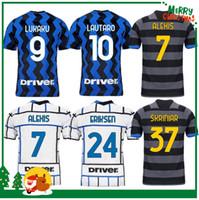 20 21 ميلان Lukaku Lautaro Skriniar دي VRIJ Vidal Barella Hakimi Gagliardini Soccer Jersey 2020 2021 قميص كرة القدم الكبار الرجال + أطفال كيت