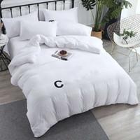 Yeni pamuk yatak takımları mektup baskılı düz levha nevresim yastık kılıfı Avrupa tarzı tasarımcı düz renk quenn boyutu yatak setleri