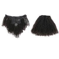 Grampo de cabelo humano indiano em Afro Kinky Curly 120g Clipe em Extensões de Cabelo Bundles Vrigin Cor Natural