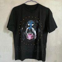 Yaz Erkek Moda Tişörtleri Kısa Kollu 3D Rottweiler Köpek Elmas T Shirt Tasarımcı Rahat T Gömlek Giyim Pamuk Tee Tops