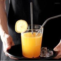 Palhas bebendo Kemorela Reusável Palha de metal 304 Aço inoxidável curvado em linha reta com escova limpa Bar Party Acessórios1