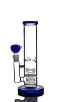 Agua de vidrio azul Bong con 2 Matrix PERC Recycler DAB RIG Tubo de agua de vidrio grueso Envío gratis