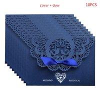 10 pz / set stile europeo in pizzo di matrimonio di matrimonio invito copertura copertina tagliata rifornimenti per feste di fidanzamento E56E