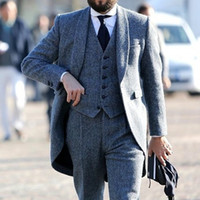 2021 جديد أنيق رمادي الزفاف البدلات الرسمية herringbone تويد الصوف الرجال الدعاوى للعريس الرسمي العريس 3 قطعة رجل مجموعة tailcoat (سترة + سترة + سروال)