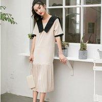 Günlük Elbiseler Denizci Yaka Orta Uzunlukta Kontrast Renk Patchwork Pileli Hem Elbise Famale 2021 Yaz Moda Kadın Giysileri V9841