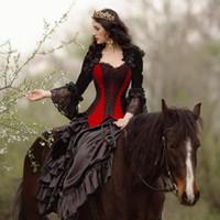 Principessa Black and Rosso Gothic Abiti da sposa Corsetto Medieval Victorian Steampunk Paese abito da sposa Sweetheart Queen Jacket Gowns Bridal
