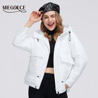 Miegofce 2020 Bahar Koleksiyonu Bayan Pamuk Kısa Ceket Bir Hood ile Fermuar Ceket Cepler Ile Klasik Bayan Sıcak Ceket LJ201021